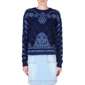 STELLA McCARTNEY, Sweatshirt à manches longues, Sweat-shirt en jacquard de denim bleu marine