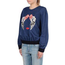 STELLA McCARTNEY, Sweatshirt à manches longues, Sweat-shirt en denim avec broderies nuages