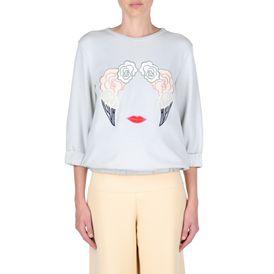 STELLA McCARTNEY, Sweatshirt à manches longues, Sweat-shirt ciel avec broderies nuages