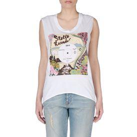 STELLA McCARTNEY, T-shirt, T-shirt blanc avec imprimé Stella Records