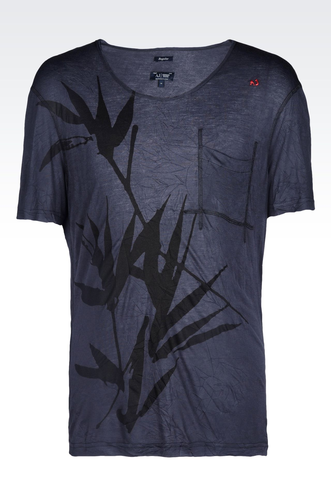 shirt in viscose jersey print t shirts men by armani 0. Black Bedroom Furniture Sets. Home Design Ideas