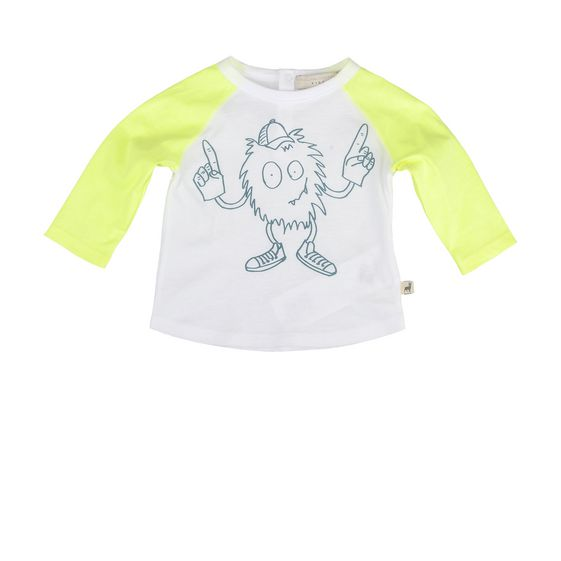 STELLA McCARTNEY KIDS, T-Shirts, Soft organic cotton t-shirt in cloud white featuring a mascot print with crew neck and raglan sleeves in a contrast tone.