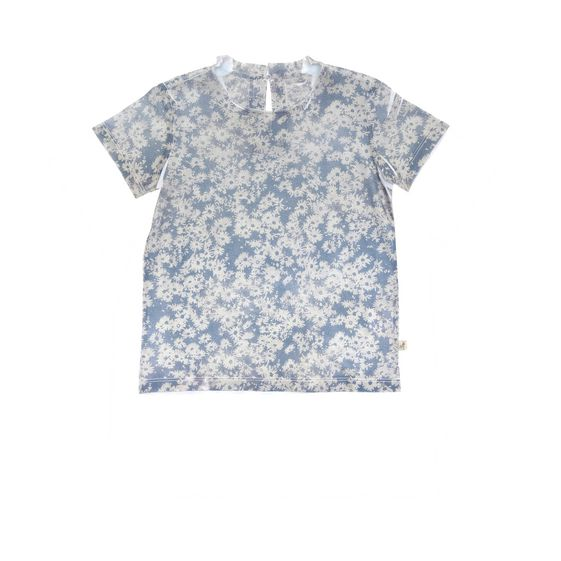 STELLA McCARTNEY KIDS, T-Shirts, Cotton t-shirt in blue daisy print inspired by the Mainline Collection. <br> Rolled sleeves and keyhole button fastening at the back. <br> Deer logo tab at side.