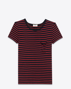 Classic Short Sleeve pocket T-Shirt in Black and Red Striped Silk Jersey