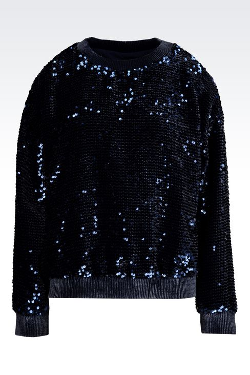 SWEATER EMBROIDERED WITH SEQUINS: Sweatshirts Women by Armani - 1