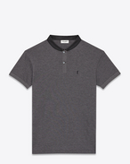 SHORT SLEEVE BAND COLLAR POLO IN Heather Grey PIQUÉ COTTON and Black leather