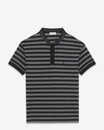 SHORT SLEEVE BAND COLLAR POLO IN black and heather grey Striped PIQUÉ COTTON and Black leather