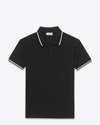 CLASSIC Striped Trim POLO SHIRT IN BLACK AND White PIQUÉ COTTON