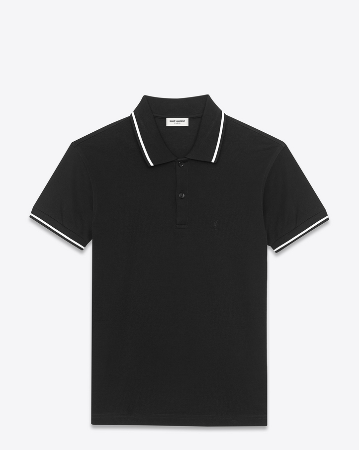 Saint Laurent Classic Striped Trim Polo Shirt In Black And