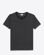 Classic Short Sleeve T-Shirt in Black and Heather Grey Striped Cotton and Lyocell