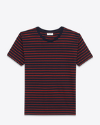 Classic Short Sleeve T-Shirt in Navy Blue and Red Striped Cotton and Lyocell