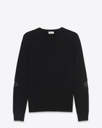 Crewneck Elbow Patch Sweater in Black Cashmere