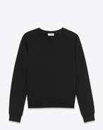 Classic Crewneck Elbow Patch Sweatshirt in Black French Terrycloth