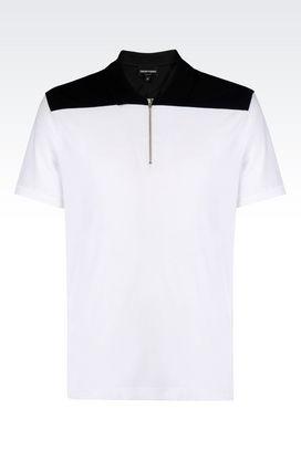 Armani Short-sleeved polo shirts Men polo shirt in cotton pique