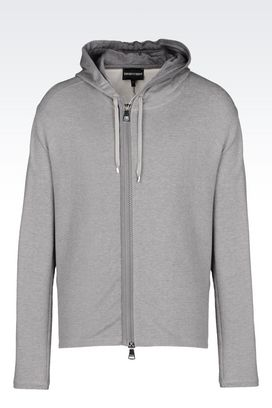 Armani Hoodies Men hooded sweatshirt in cotton modal