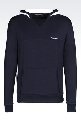 Armani Hoodies Men hooded sweatshirt in cotton modal