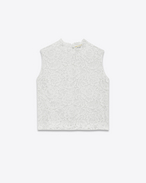 Sleeveless Crop Top in Ivory Cotton, Nylon, Modal and Rayon Lace