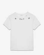 Classic Short Sleeve T-Shirt in Ivory and Black Star Printed Cotton Jersey