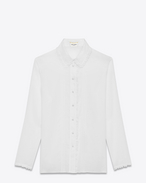 Eyelet Trimmed Blouse in White Cotton Voile