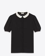 Blusa Schoolgirl nera in georgette di seta