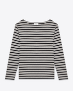 Marinière Marlon Long Sleeve Top in Heather Grey and Black Striped Cotton