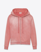 Washed Hooded Zip Sweatshirt in Faded Rose French Terrycloth