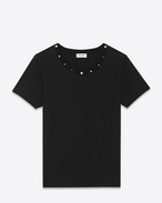 Studded Short Sleeve T-Shirt in Black Cotton Jersey