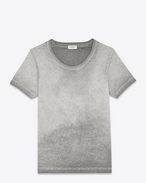 Washed Short Sleeve T-Shirt in Faded Light Grey Cotton
