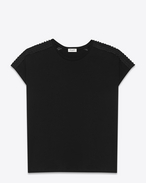 Sleeveless Embroidered T Shirt in Black Cotton Jersey