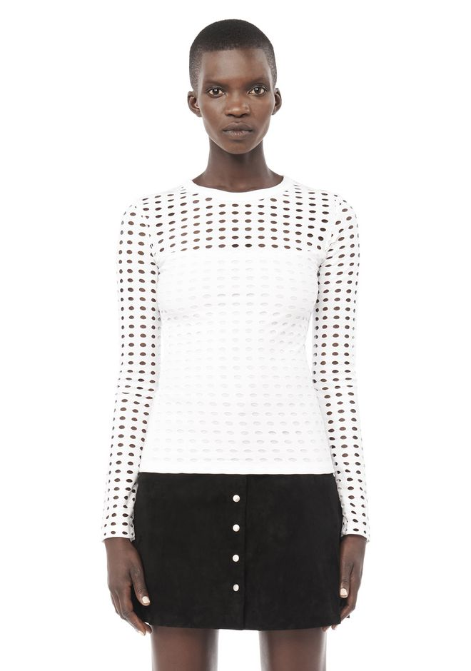 T by ALEXANDER WANG resort-2016 CIRCULAR HOLE LONG SLEEVE TOP
