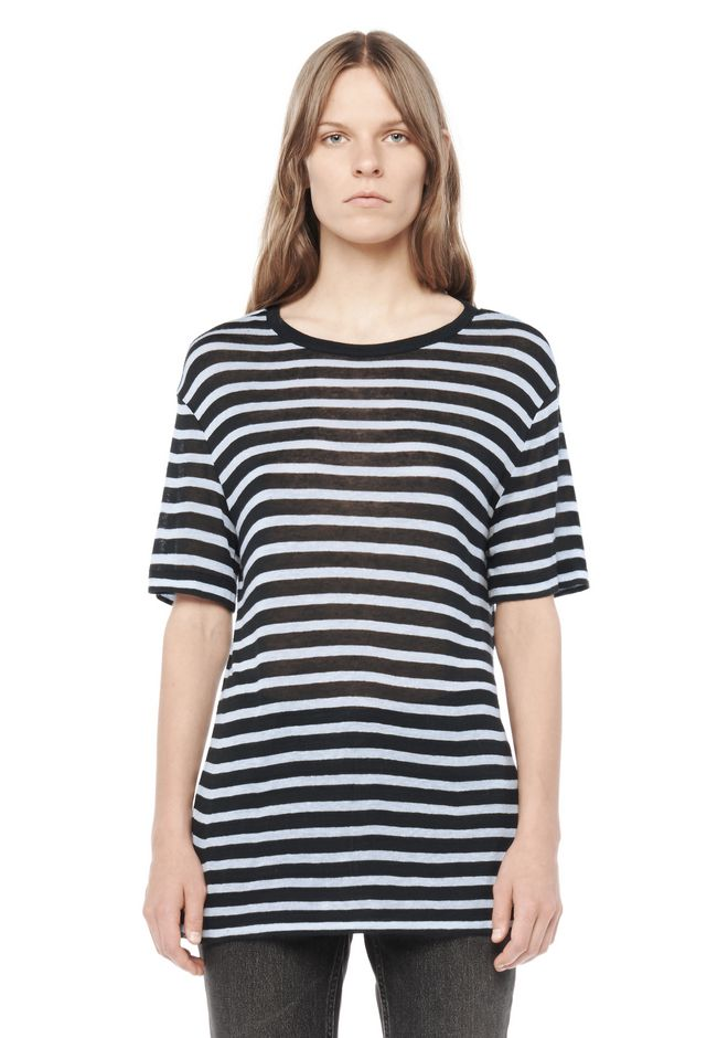 T by ALEXANDER WANG resort-2016 STRIPE RAYON SHORT SLEEVE TEE