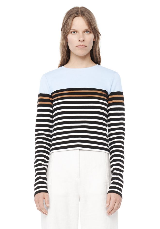 T by ALEXANDER WANG resort-2016 ENGINEERED STRIPE LONG SLEEVE TEE