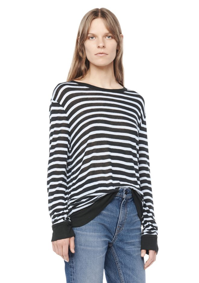T by ALEXANDER WANG resort-2016 STRIPE LINEN LONG SLEEVE TEE