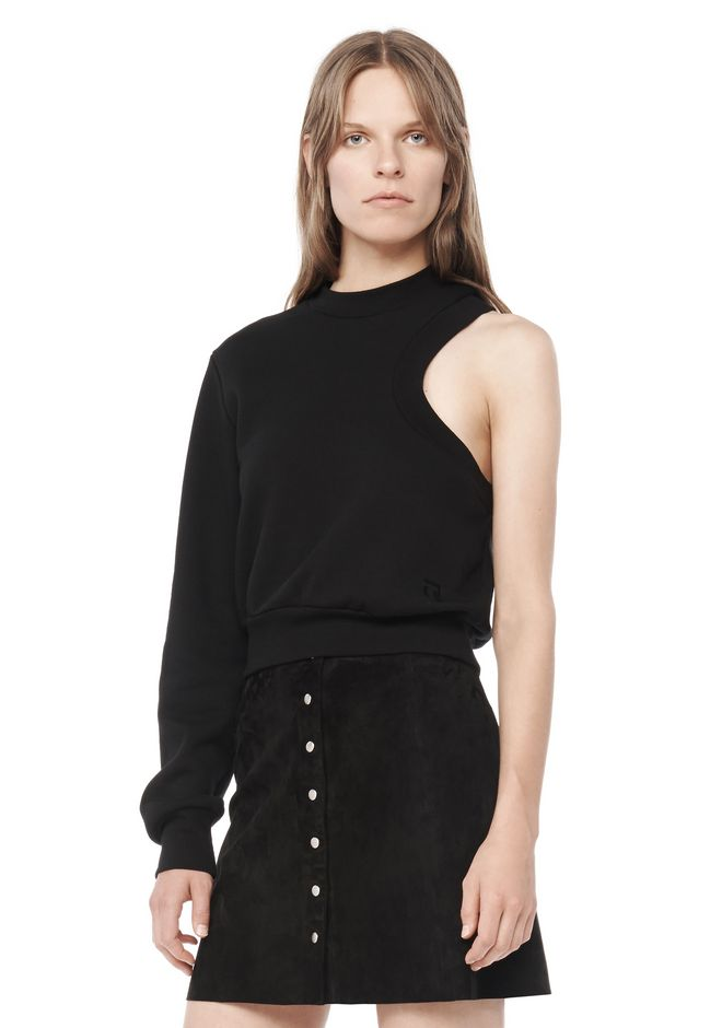 T by ALEXANDER WANG t-by-alexander-wang-sale DYED FLEECE ONE SLEEVE SWEATSHIRT