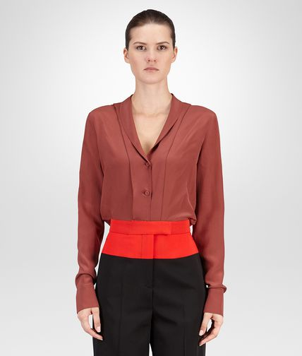 SHIRT IN RUSSET CREPE DE CHINE
