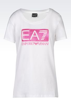 Armani Short sleeved t-shirts Women cotton t-shirt with glitter logo