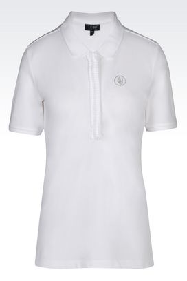 Armani Short-sleeved polos Women polo shirt in cotton pique
