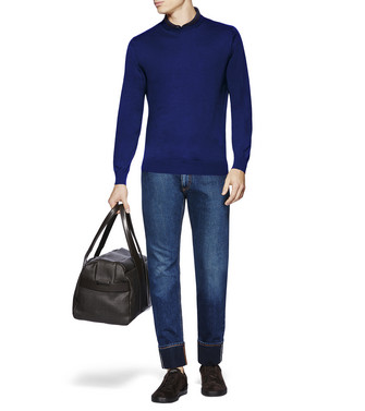 ERMENEGILDO ZEGNA: Crew Neck Sweater Blue - 37813728TM