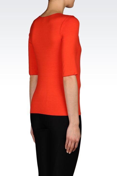 T-SHIRT IN STRETCH VISCOSE: Print t-shirts Women by Armani - 3