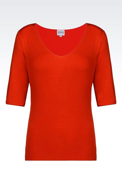 T-SHIRT IN STRETCH VISCOSE: Print t-shirts Women by Armani - 1