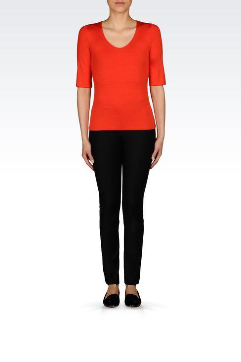 T-SHIRT IN STRETCH VISCOSE: Print t-shirts Women by Armani - 2