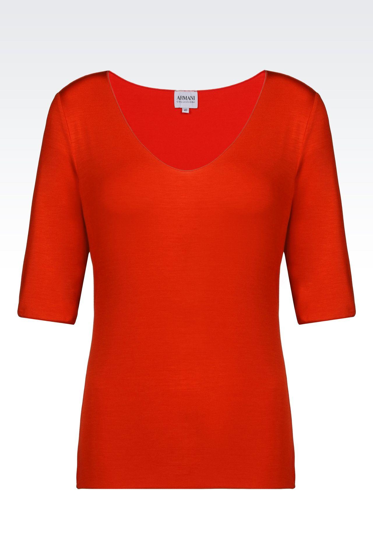 T-SHIRT IN STRETCH VISCOSE: Print t-shirts Women by Armani - 0