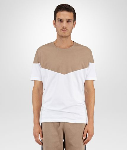 TSHIRT IN BIANCO TOFFEE ORGANIC COTTON INLAY DETAIL