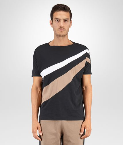 TSHIRT IN NERO TOFFEE BIANCO ORGANIC COTTON INLAY DETAIL