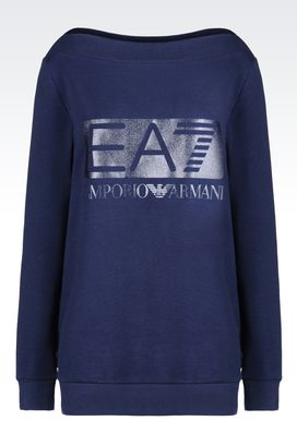 Armani Crewneck sweatshirts Women cotton sweatshirt with glitter logo