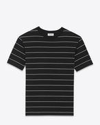 Short Sleeve T-Shirt in Black and Ivory Striped Cotton Jersey