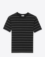 T-shirt à manches courtes en jersey de coton à rayures noires et ivoire