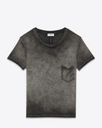 T-SHIRT À COL ROND EN jersey de coton gris teint