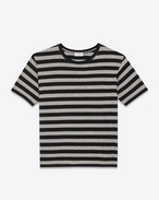 T-Shirt in Black and Grey Venice Striped Cotton Jersey
