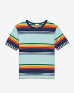 Short Sleeve T-Shirt in Blue, Navy Blue, Green, Orange and Yellow Venice Striped Cotton Jersey